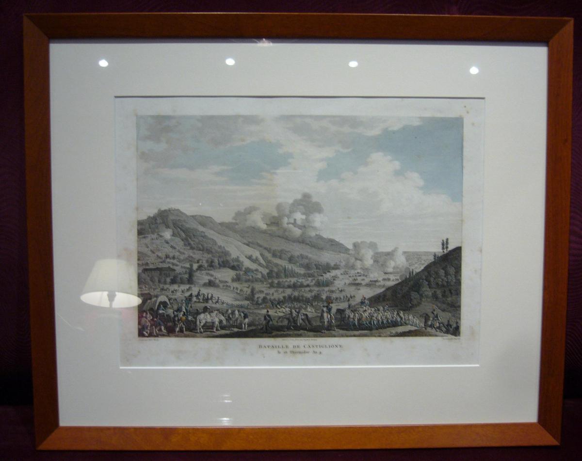 Bataille Napoléonienne - Castiglione, gravure aquarellée