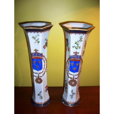 Pair Of Vases Horn Nineteenth Porcelain - Samson