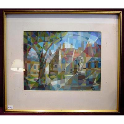Cubist Gouache Of A Village Square