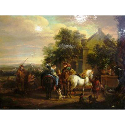 Stop Of Travelers, Entourage Of Philips Wouwerman