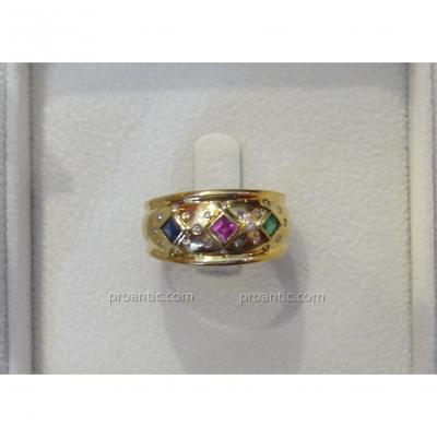 Yellow Gold Ring Decorated With Sapphire, Emerald And Ruby