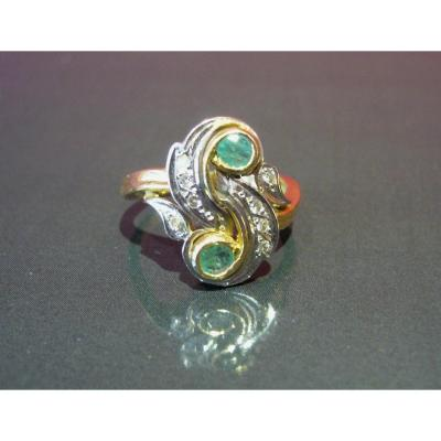 Toi & Me Ring With Two Emeralds