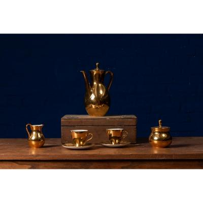 Teaset Of 7 Bareuther Waldsassen Ceramics, Gold Finish, Production 1956-1960