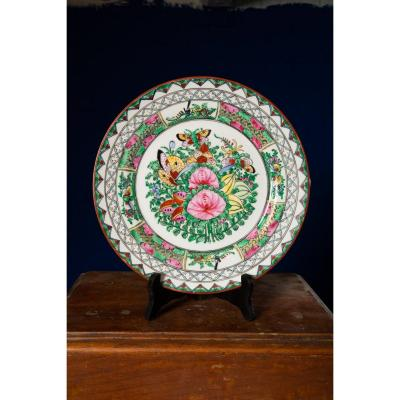 Decorative Porcelain Handpainted Plate, Asian Tag, Elegantly Decorated.