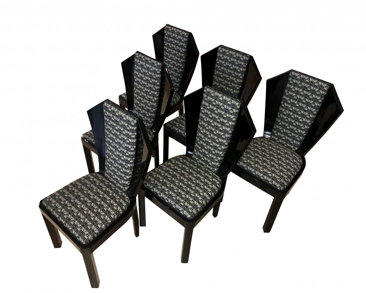 Set Of Six Art Deco Dining Room Chairs, France Circa 1930-photo-2