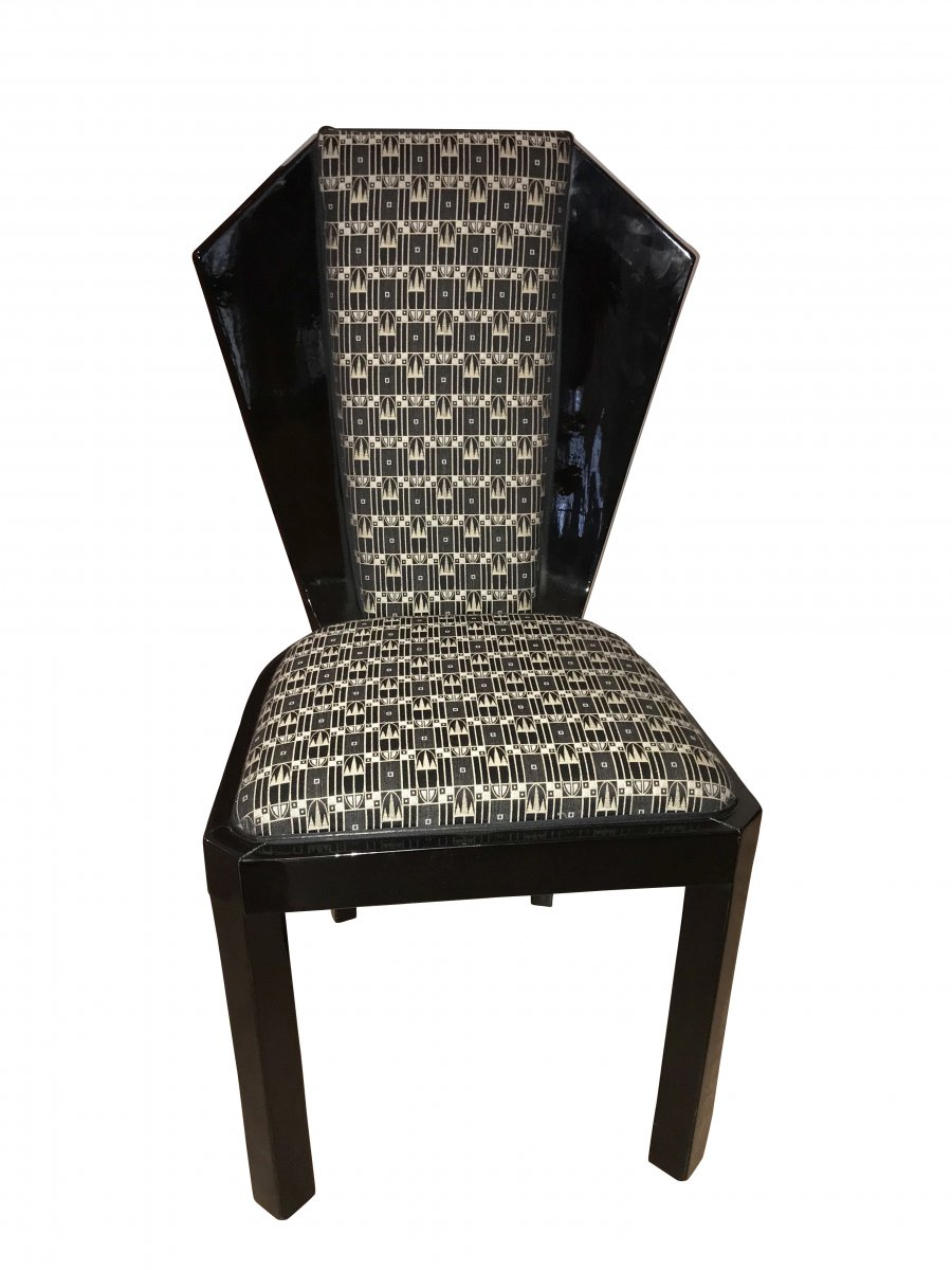 Set Of Six Art Deco Dining Room Chairs, France Circa 1930-photo-3