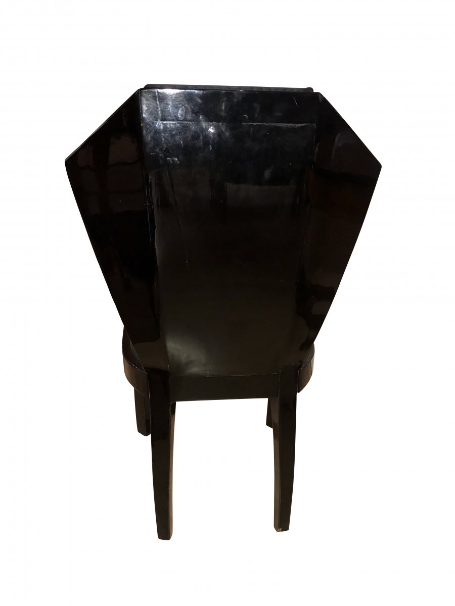 Set Of Six Art Deco Dining Room Chairs, France Circa 1930-photo-4