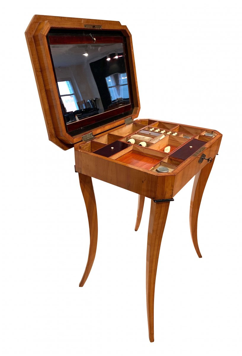 Biedermeier Sewing Table With Interior, Cherry Veneer, South Germany, Circa 1825