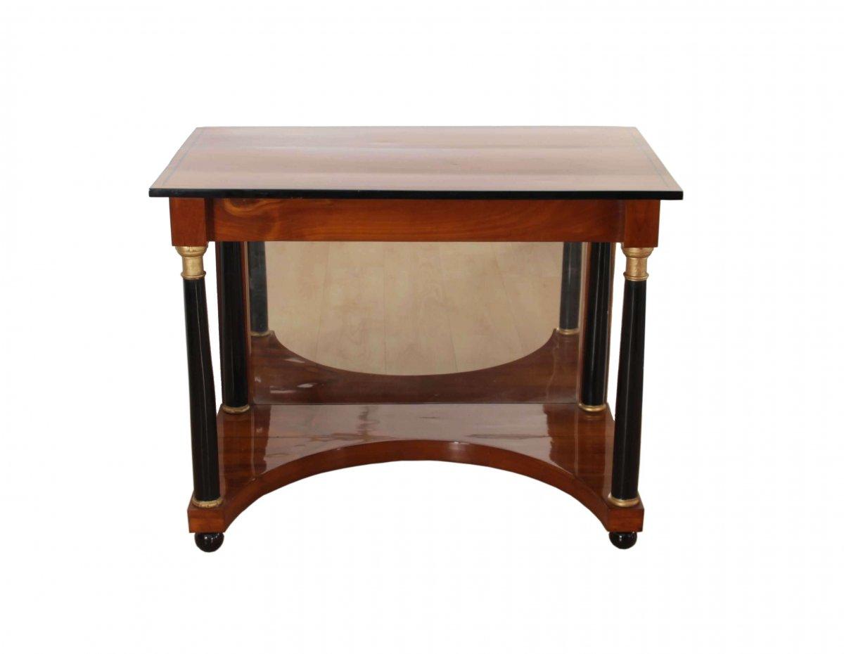 Biedermeier Console Table, Cherry, Full Columns, Mirror, South Germany Ca. 1820