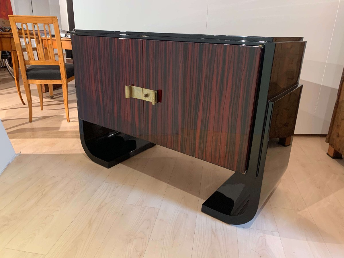French Art Deco Sideboard / Sideboard, Macassar, Black Lacquer And Brass, Circa 1930-photo-2
