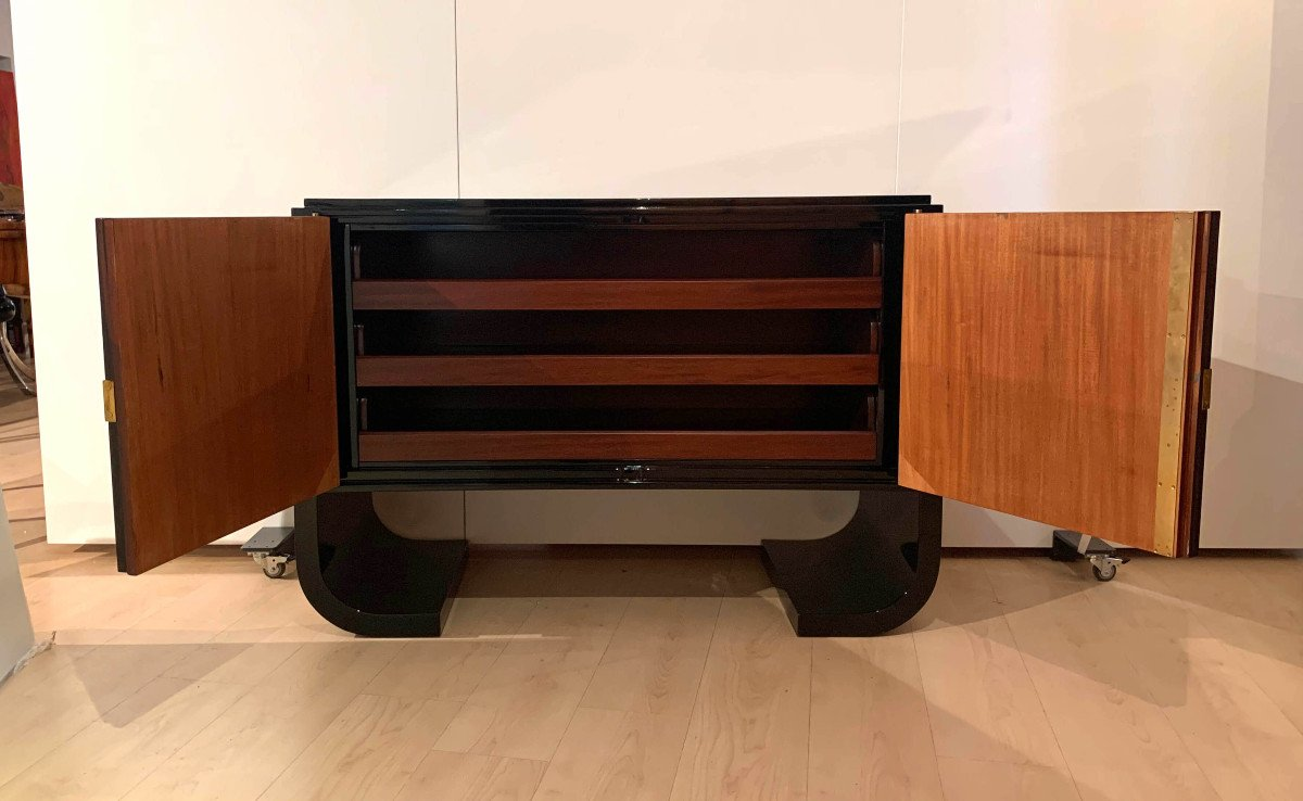 French Art Deco Sideboard / Sideboard, Macassar, Black Lacquer And Brass, Circa 1930-photo-3