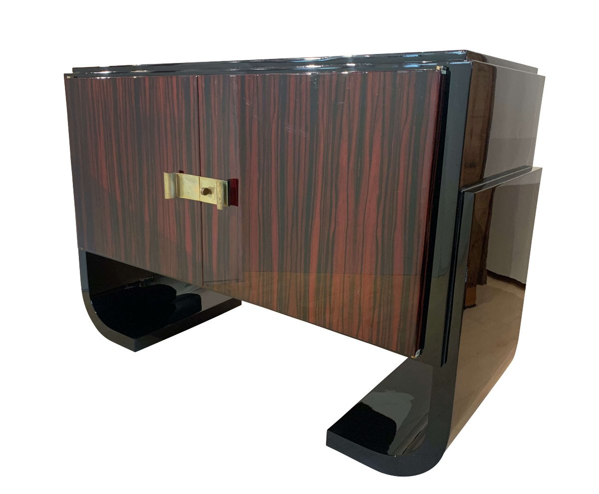 French Art Deco Sideboard / Sideboard, Macassar, Black Lacquer And Brass, Circa 1930-photo-4