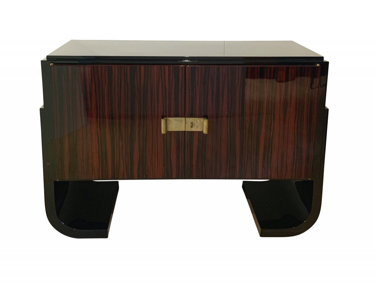 French Art Deco Sideboard / Sideboard, Macassar, Black Lacquer And Brass, Circa 1930
