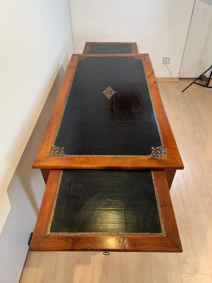 Restauration Bureau Plat, Walnut, Brass, Leather Plate, France Circa 1820-photo-3