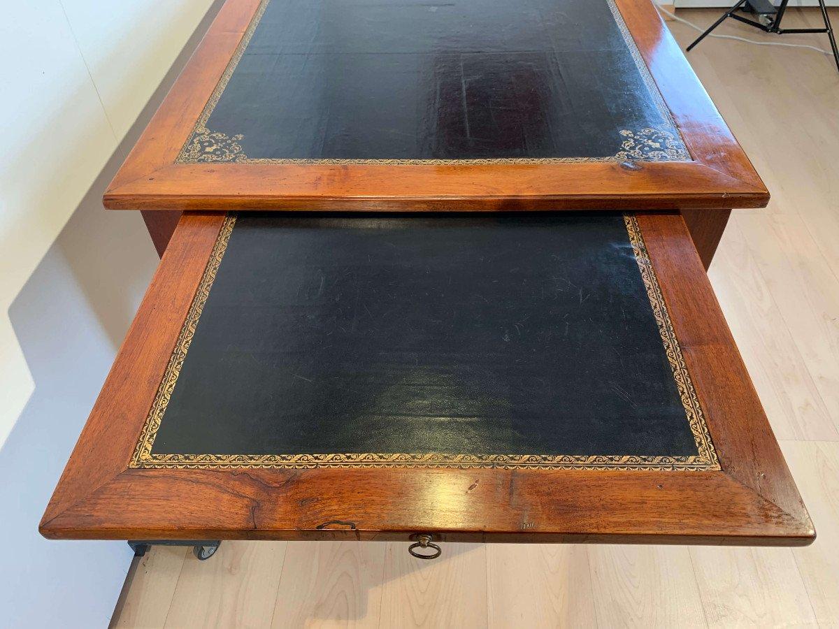 Restauration Bureau Plat, Walnut, Brass, Leather Plate, France Circa 1820-photo-2