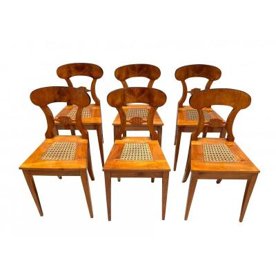 Set Of Six Biedermeier Board Chairs, Austria Circa 1830