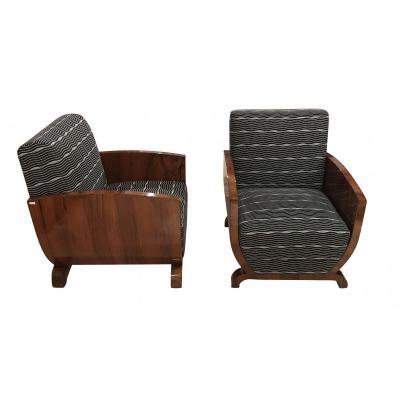Pair Of Art Deco Club Chairs, Walnut Veneer, France, 1930s