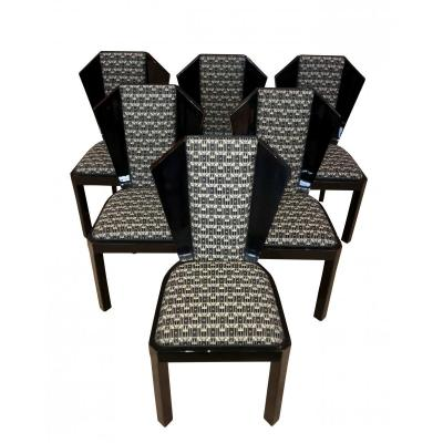 Set Of Six Art Deco Dining Room Chairs, France Circa 1930