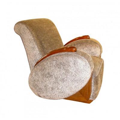 Art Deco Club Chair, Oval Armrests, Grey Velvet, France, Circa 1925