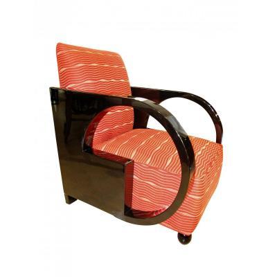 Chaise Club Art Déco, Laque Noire, France Vers 1930