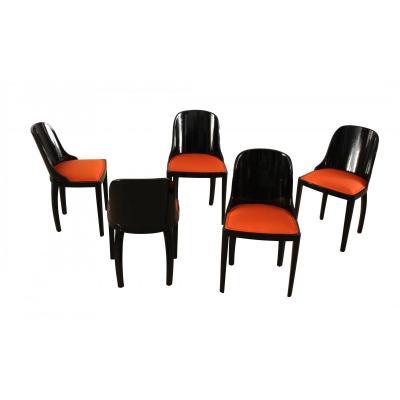 Five Art Deco Chairs, Blackened Wood, Orange Fabric, France, Circa 1930