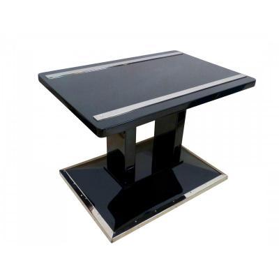 Bauhaus table d'appoint / bagage, laqué noir et chrome, Autriche, vers 1920