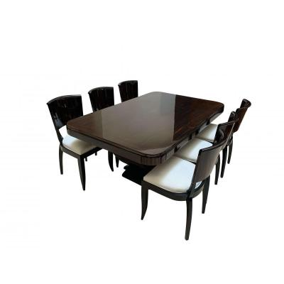 Art Deco Macassar Dining Room Set Of Expandable Table And 6 Chairs From France About 1925