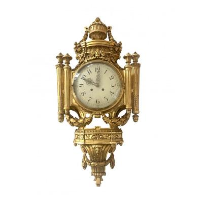 Horloge Murale De Style Louis XVI En Plaqué Or Émail Et Laiton France Début 20ème Siècle