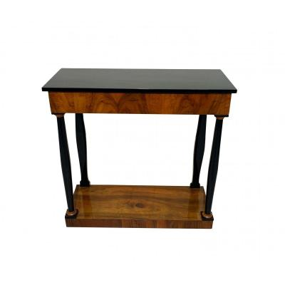Biedermeier Console Table, Walnut Veneer And Ebonized, South Germany, Circa 1820
