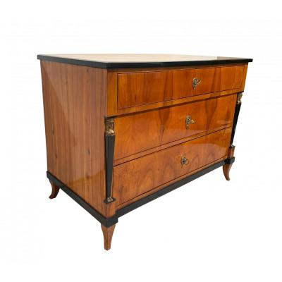 Empire Commode / Chest Of Three Drawers With Caryatids, South Germany Circa 1815