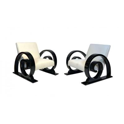 Art Deco Club Chairs (4), Black Piano Lacquer, Creme-white Farbic, France, Circa 1930
