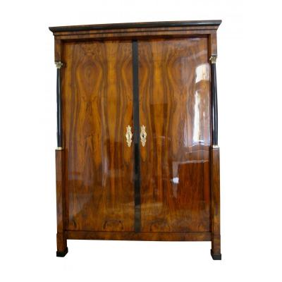 Empire Armoire, Walnut Veneer, Brass, Austria / Vienna Circa 1815/20