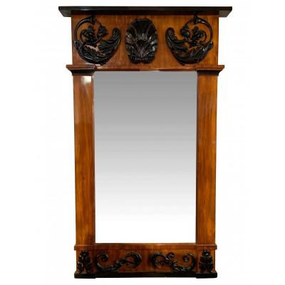 Empire Wall Mirror, Bright Mahogany, Carved Black Decor, South Germany, Circa 1810