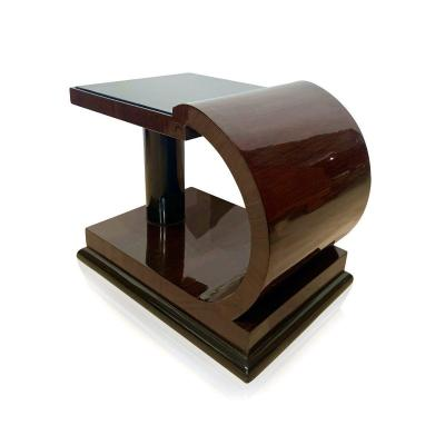 Art Deco Side Table, Rosewood Veneer, Ebonized, Black Glass, France Circa 1930
