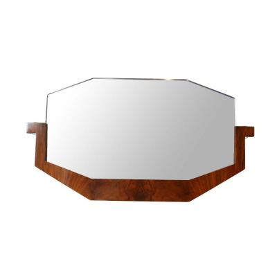 Art Deco Mirror, Walnut Veneer, France, Circa 1930