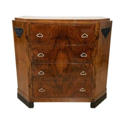 Small Art Deco Commode, Veneered Walnut And Brass, France Around 1930