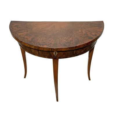 Biedermeier Demi-lune Console Table, Walnut Veneer, South Germany Circa 1825