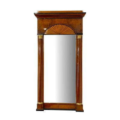 Biedermeier Mirror, Walnut And Maple With Fan Decor, Southern Germany / Franconia Around 1820