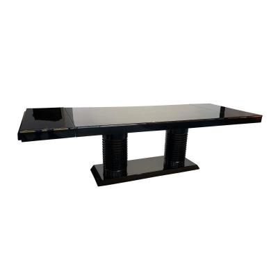 Art Deco Dining Table, Extendable, Black Lacquer, France Circa 1930