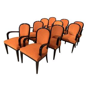 Suite Of 10 Art Deco Armchairs, Black Lacquered Wood, Orange Fabric, France Circa 1930