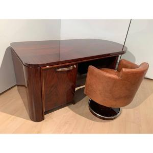 Art Deco Rosewood Executive Desk With Leather Swivel Armchair, France, 1930-40