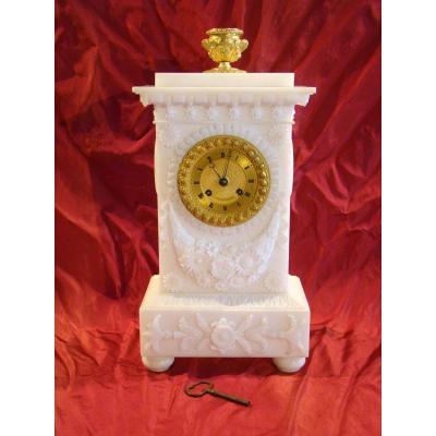 Pendule Borne époque Empire En Albâtre Et Bronze Doré - Pons 1773
