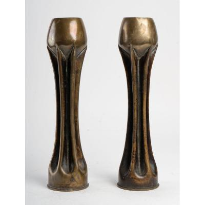 Art Nouveau Vases Jugendstil Obus 1st World War 14/18