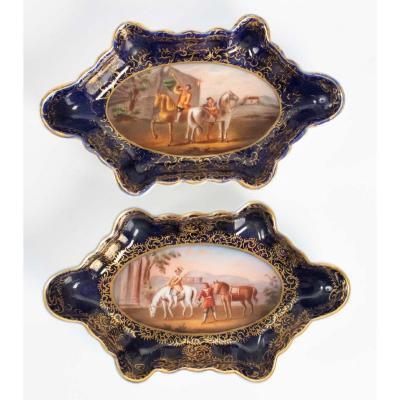 Plateaux à Carte En Paire - Porcelaine Royal Vienna - Empire Austro Hongrois - 19ème Siècle