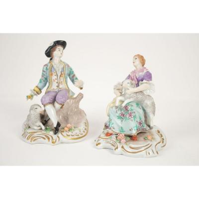 Sitzendorf - Paire De Postures - Porcelaine De Saxe - 19ème