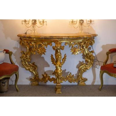 Baroque Console Golden Wood Yellow Marble Of Siena 19th