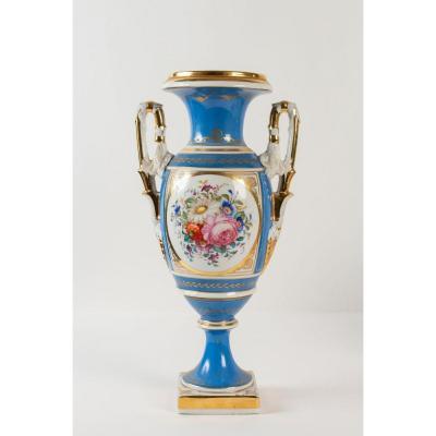 Sèvres Napoléon III Vase Fuseau à Anses En Palmettes 19ème