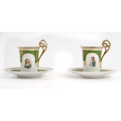 Tasses Marie Louise d'Autriche Et Napoléon 1er En Paire - Porcelaine De Vienne - 19ème Siècle