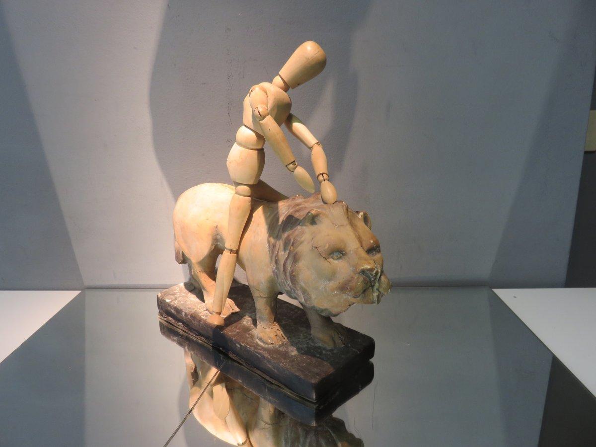 Lion Papier Mache Jouet XIXe-photo-3