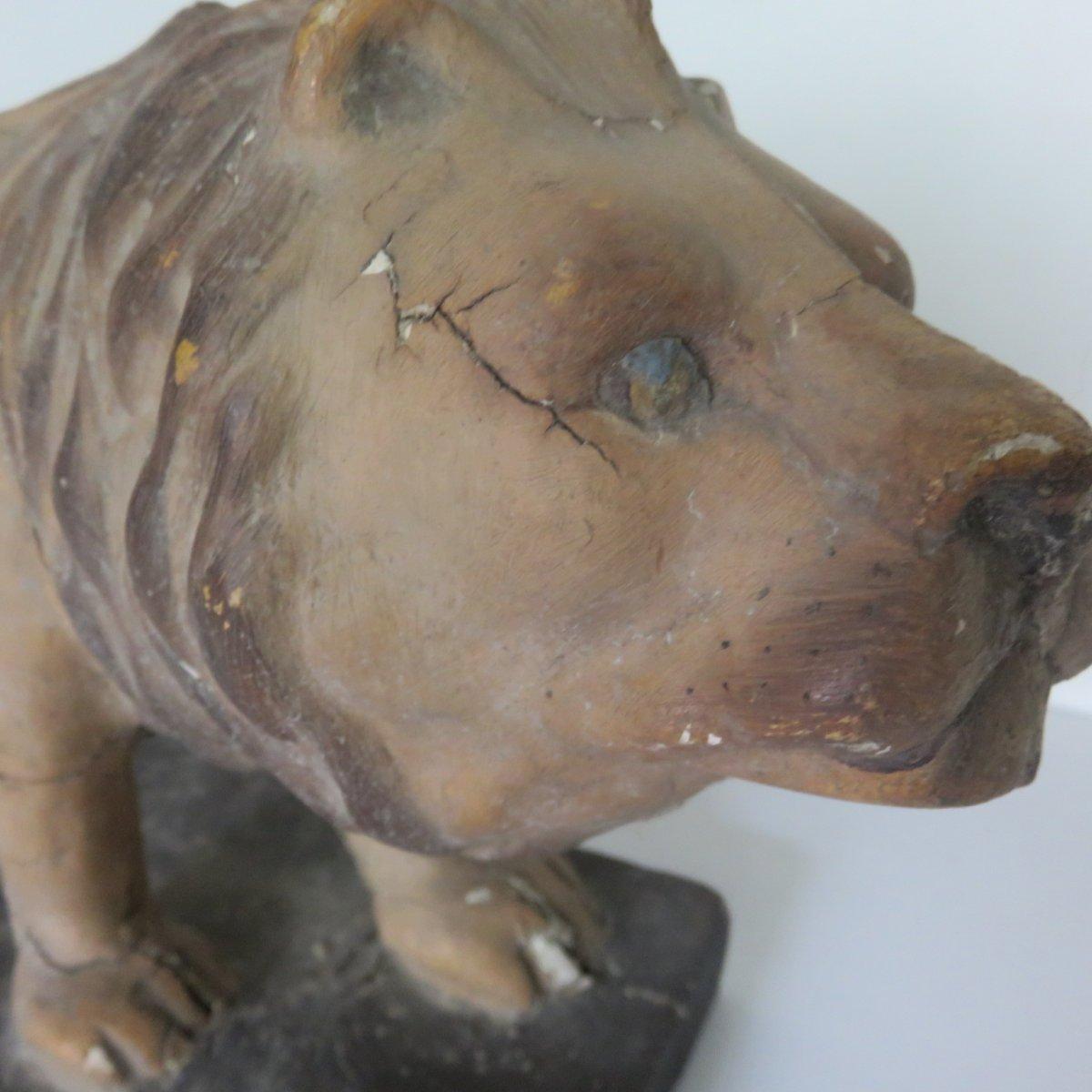 Lion Papier Mache Jouet XIXe-photo-5